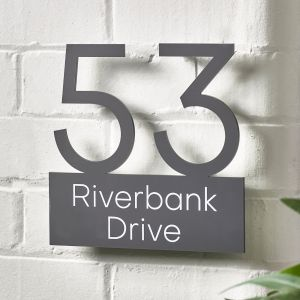 Contemporary Floating House Sign Number Double