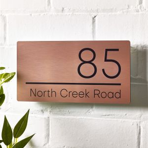 Copper Contemporary Modern House Sign Number 15cm x 30cm