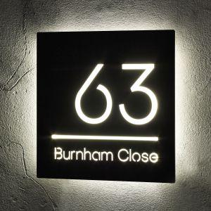 Illuminated LED House Signs Door Number 24cm x 24cm