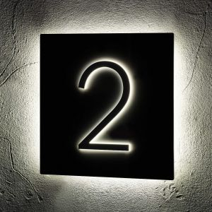 Illuminated LED House Signs Halo Door Number 24cm x 24cm