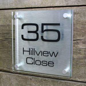 Acrylic & Aluminium Modern House Sign 20cm x 20cm