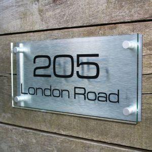 Acrylic & Aluminium Modern House Sign 30cm x 15cm