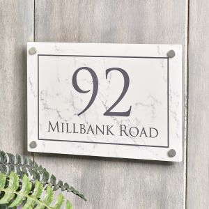 Marble Effect House Sign Number 30cm x 20cm