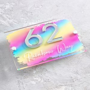 Rainbow Contemporary Acrylic House Sign Door Number Plaque