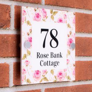 Decorative House Sign 20cm x 20cm - Pink Rose