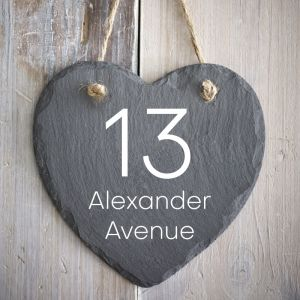 Rustic Hanging Slate Heart House Sign 15cm