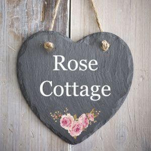 Rustic Hanging Slate Heart House Sign 15cm - Rose