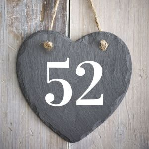Rustic Hanging Slate Heart Number House Sign 15cm