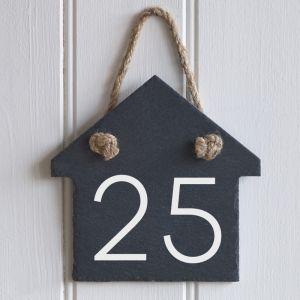 Rustic Hanging Slate Number House Shape Sign 15cm x 15cm