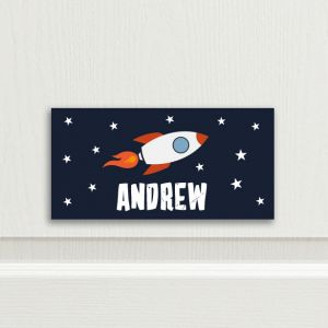 Rocket Personalised Bedroom Door Sign